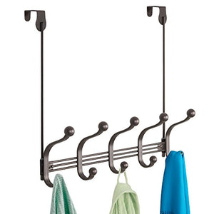 "iDesign York Metal 5-Hook Over-the-Door or Wall Mount Rack for Coats, Hats, Scarves, Towels, Robes, Jackets, Purses, 15.62"" x 5.35"" x 12.83"", Bronze"