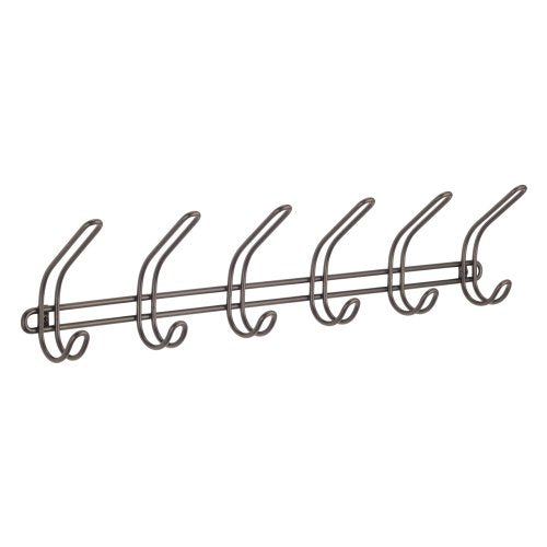 iDesign Classico Wall Mount Entryway Storage Rack for Jackets, Coats, Hats, Scarves - 6 Hooks, Bronze