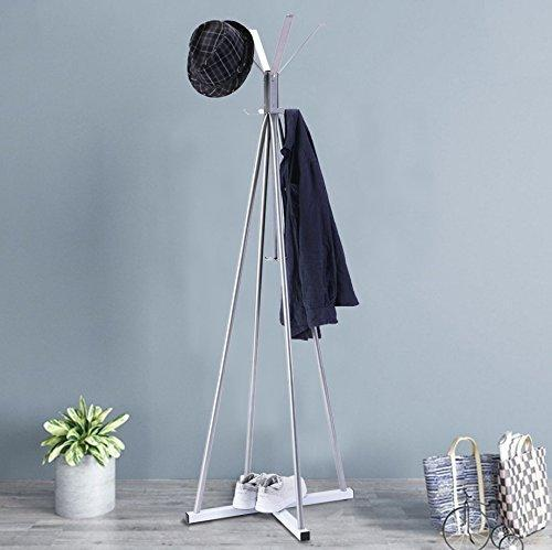 Organize with wilshine coat tree heavy sturdy metal coat rack with umbrella stand coat racks free standing with 8 hooks silver white