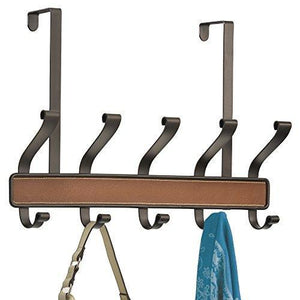 Amazon interdesign laredo over door storage rack organizer hooks for coats hats robes clothes or towels 5 dual hooks brown bronze