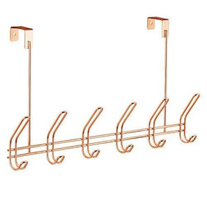Latest interdesign classico over door storage rack organizer hooks for coats hats robes clothes or towels 6 dual hooks copper
