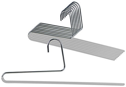 Mawa by Reston Lloyd Reverse Hook Trouser Series Non-Slip Space-Saving Clothes Hanger with Single Rod for Pants, Style KH/35U, Set of 10, Silver