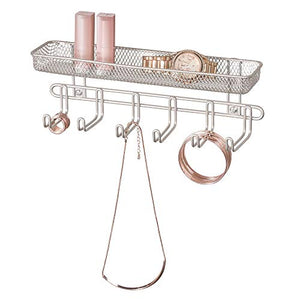 "InterDesign Classico Wall Mount Fashion Jewelry Organizer, 6-Hook Storage Rack for Rings, Earrings, Bracelets, Necklaces, 11"" x 2.88"" x 3.75"", Satin"
