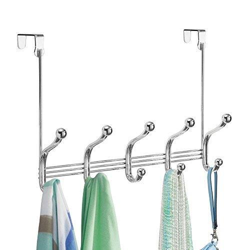 Shop arkbuzz over door storage rack organizer hooks for coats hats robes clothes or towels 5 dual hooks chrome