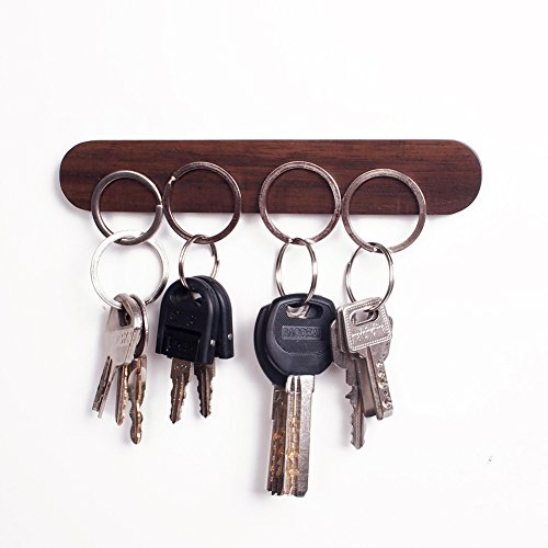 Frjjthchy Original Wooden Magnetic Wall Key Holder Decorative Wood Key Chain Ring Rack (Coffee)