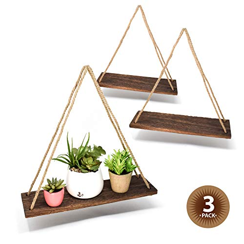 "Happy Magnolia 17"" Reclaimed Wood Hanging Swing Rope Floating Shelves Rustic Wall Decor, Set of 3"