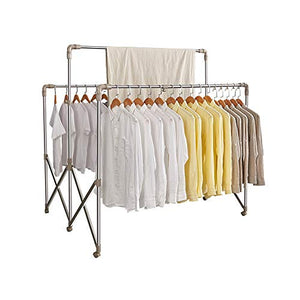 YQQ-Drying rack Folding Hanger 3-bar Garment Rack Stainless Steel 94~180120122~162CM