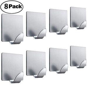 FOTYRIG Adhesive Hooks Wall Hooks Hangers Heavy Duty Waterproof Stick on Towel Hooks for Hanging Bathroom Kitchen Robe Coat Towel Kitchen Utensils Keys Bags Stainless Steel-8 Packs