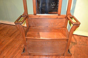 Related crafters weavers mission oak hall tree with umbrella stand coat hangers and storage space in seat