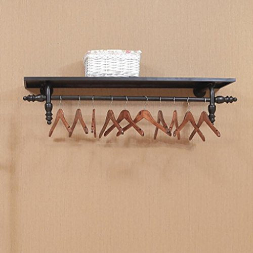 Ymj Wall clothing rack/clothing rack/wall-mounted clothing hanging shelf/clothing store shelves solid wood nostalgic iron wall