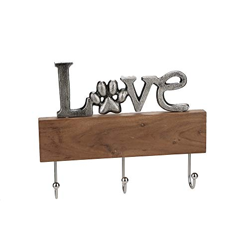 Mind Reader LOVEHR3-SIL Wall Mount 'Love Rack Organizer for Entryway and Kitchen-3 Hook Key Holder, Iron and Wood, Silver/Brown