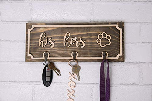Handmade Wood Leash and Key Holder - Custom Personalized His and Hers, Pawprint