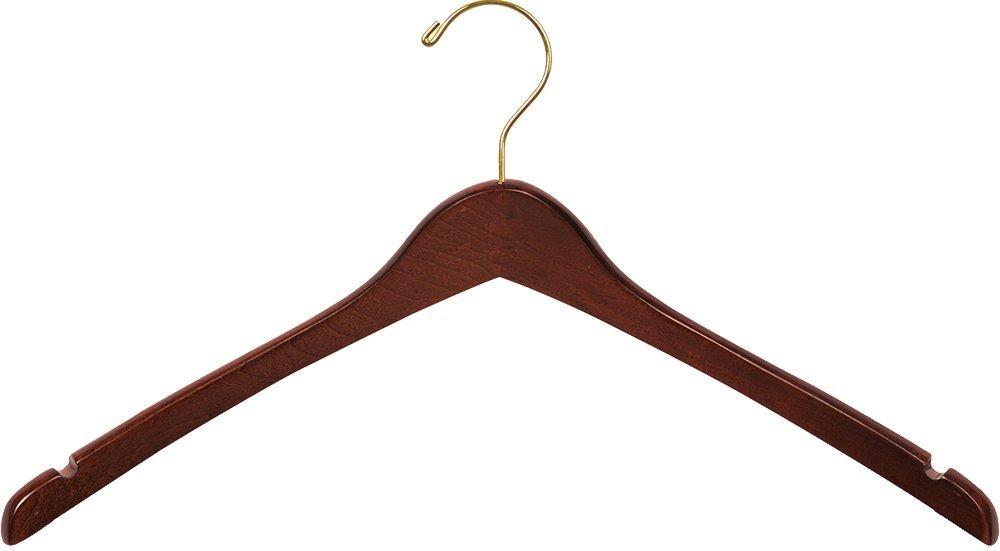 The best the great american hanger company curved wood top hanger box of 100 17 inch wooden hangers w walnut finish brass swivel hook notches for shirt jacket or coat