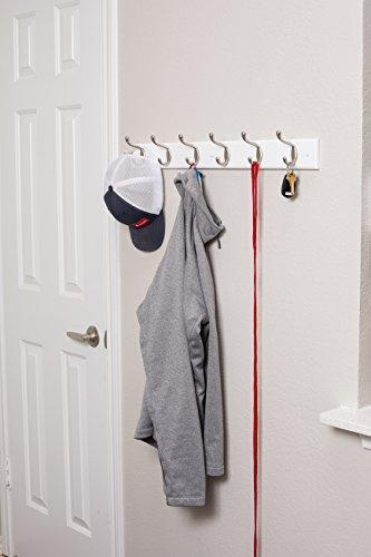 Great airleds home hook coat and hat rack 6 dual hooks 27 inches wall mount decorative home storage entryway foyer hallway bathroom bedroom rail satin nickel hooks white pine bathroom rail