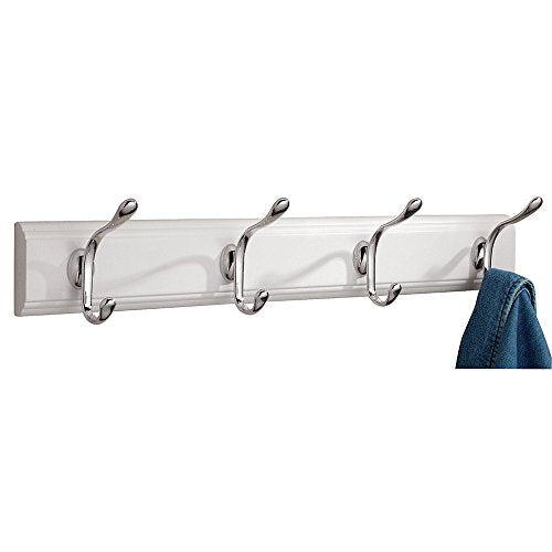 iDesign Paris Wall Mount Entryway Storage Rack for Jackets, Coats, Hats, Scarves - 4 Hooks, White/Chrome