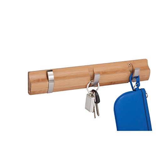 Honey-Can-Do 3-Hook Wall Hanger, Bamboo Finish Bar
