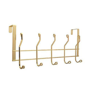 Heavy duty ruiling 2 pack gold over the door hooks 10 hanger rack organizer for home office hanger coats hats towels more use