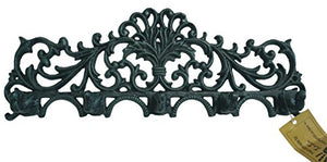 LuLu Decor, Cast Iron Fleur De Lis Curly Key Hook (Green)