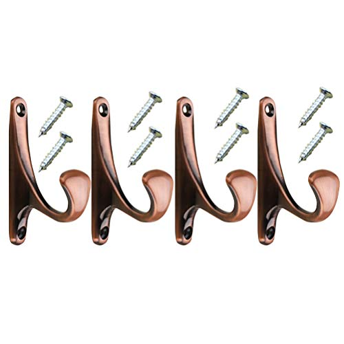 Zmmyr 4Packs Wall Mounted Coat Hooks Wardrobe Hat Hooks Vintage Single Organizer Hangers (Red Bronze)