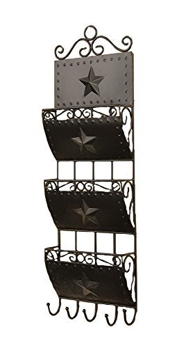 Your Heart's Delight 3-Pocket Letter Holder with 5 Hooks Wall Rack, 8 by 24-Inch