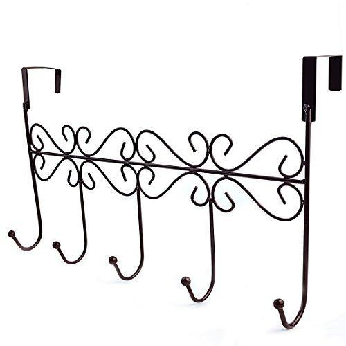Top obmwang over the door 5 hook rack decorative organizer hooks for clothes coat hat belt towels stylish over door hanger for home or office use l x w x h 15 x 2 x 9 inch