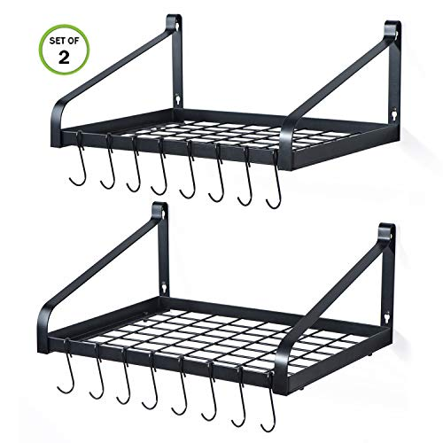 Love-KANKEI Pot Rack Wall Mounted Set of 2 Pan Pot Organizer Wall Shelves with 16 Hooks for Kitchen Cookware Utensils Organization