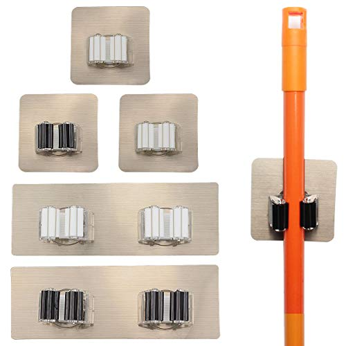 Yotako Broom mop Holder,8 Pcs Mop and Broom Hanger Self Adhesive Wall Mount Storage Rack Storage and Organization for Your Home,Kitchen and Wardrobe