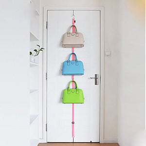 Lecent@ 1 PCS/lot Over Door Straps Hanger Hooks Lanyard Hanger Adjustable Hat Bag Organizer Handbags/Purses/Scarves/Hats Rack (Pink)