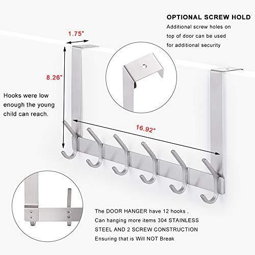 Discover the yumore door hanger stainless steel heavy duty over the door hook for coats robes hats clothes towels hanging towel rack organizer easy install space saving bathroom hooks