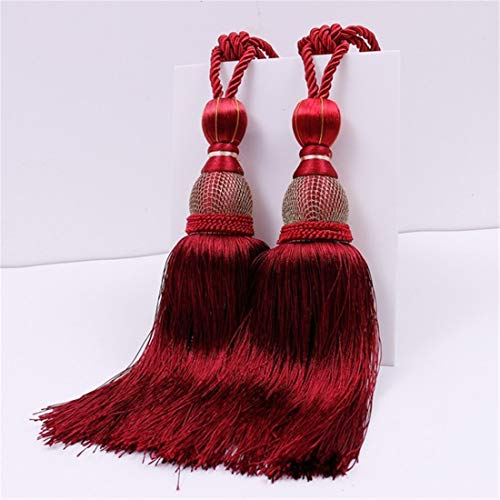 JONARO 1 Pair Home Window Curtain Tassel Tieback Clips Accessories Hanging Belt Ball Curtain Strap Khaki Red Curtain Tassel Tieback Buckle 2PCS