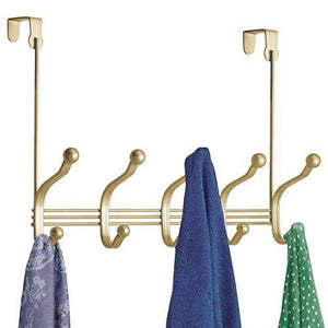 On amazon mdesign over door 10 hook steel storage organizer rack for coats hoodies hats scarves purses leashes bath towels robes gold brass