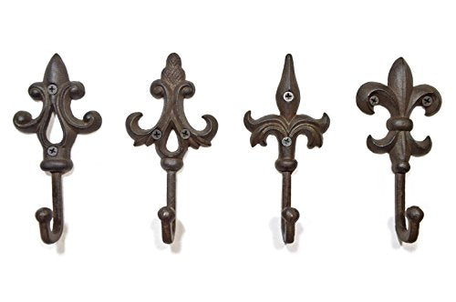 gasare, Cast Iron Key Holder for Wall, Decorative Hooks, Fleur De Lis Design, Rustic Cast Iron, 5.75 x 2.75 inches, Antique Rust Brown Color, Screws and Anchors, Set of 4