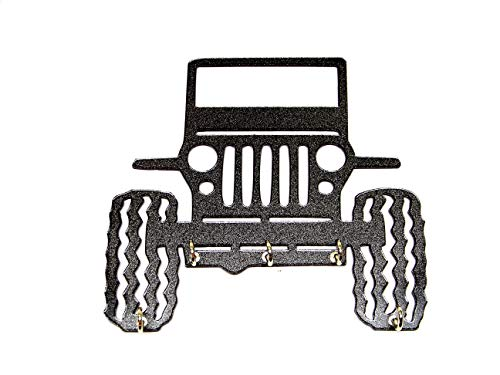 "Plastic 5"" Jeep Rock Crawler Mud Bog Key Holder Key Rack / Jewelry Organizer Wall Key Rack Key Holder Black with Five Hooks Black Color"