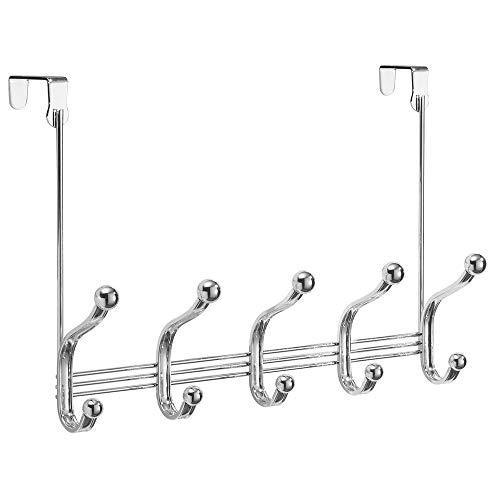 Shop for arkbuzz over door storage rack organizer hooks for coats hats robes clothes or towels 5 dual hooks chrome