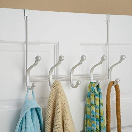 Try mdesign decorative over door 10 hook steel storage organizer rack for coats hoodies hats scarves purses leashes bath towels robes for mens and womens clothing pearl white