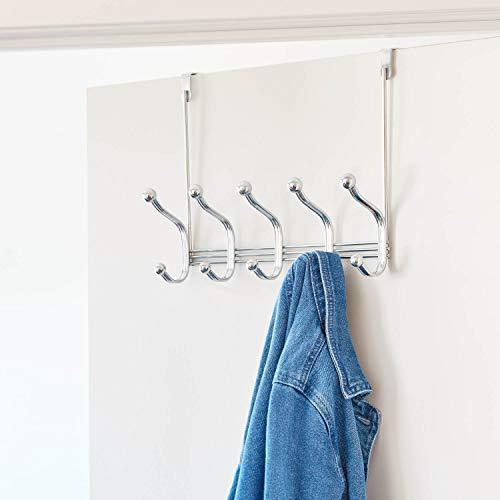 Select nice arkbuzz over door storage rack organizer hooks for coats hats robes clothes or towels 5 dual hooks chrome