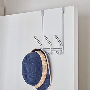 Storage interdesign 43912 classico over door storage rack organizer hooks for coats hats robes clothes or towels 3 dual hooks chrome