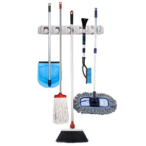 Multipurpose Broom, Mop, Fishing Pole, Hand Garden Tools Wall-Mount Holder and Organizer