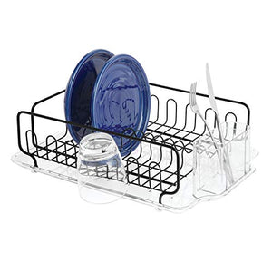 iDesign Forma Lupe Kitchen Dish Drainer Rack with Tray for Drying Glasses, Silverware, Bowls, Plates - Black Matte/Clear