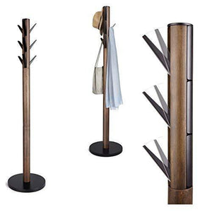 Heavy duty umbra flapper coat rack clothing hanger umbrella holder and hat organizer great for entryway black walnut