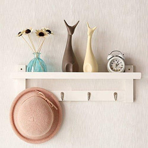 Great wooden hooks for wall coat rack shelf wall mounted bamboo hook rack with upper shelf for storage scandinavian style for hallway bathroom living room bedroom 4 hooks