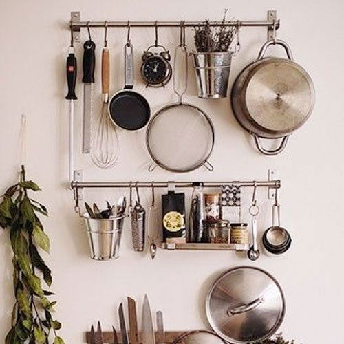 Ikea Stainless Steel Gourmet Kitchen Wall Rail and 10 Large S Hooks Set Utensil Pot Pan Lid Rack Storage Organizer