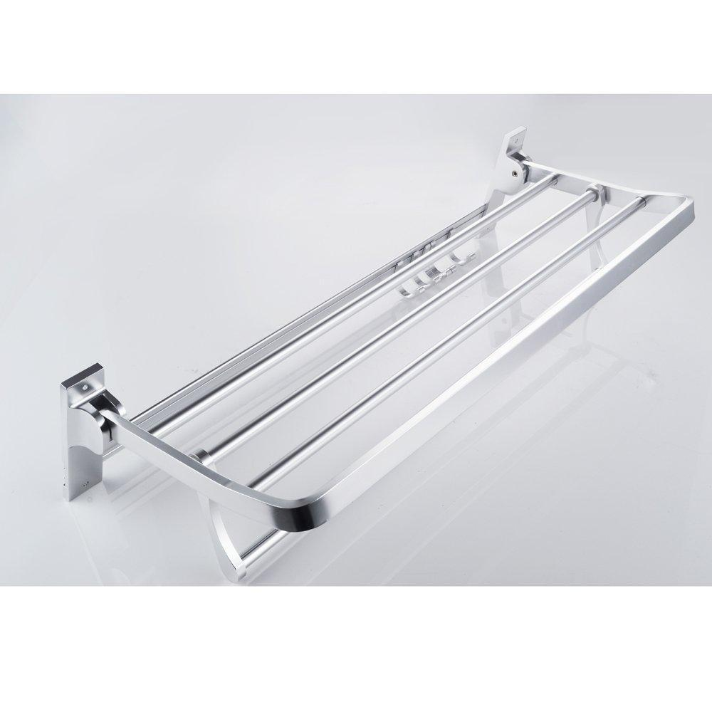 Buy now kes a4015 bathroom aluminum foldable towel rack shelf with coat and robe hooks wall mount aluminum