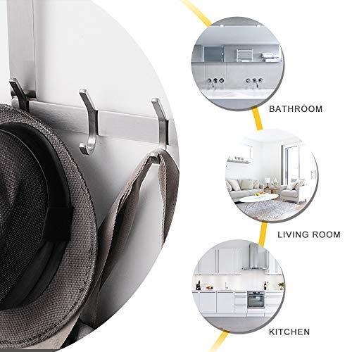 Discover yumore door hanger stainless steel heavy duty over the door hook for coats robes hats clothes towels hanging towel rack organizer easy install space saving bathroom hooks