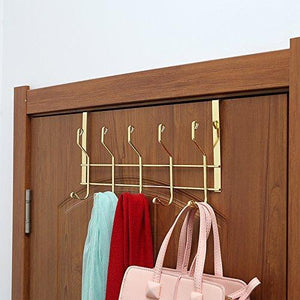 Kitchen ruiling 2 pack gold over the door hooks 10 hanger rack organizer for home office hanger coats hats towels more use