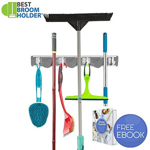 Mop Broom Holder Wall Mount, 3 Positions with 4 Hooks Garage Hooks Storage System Solutions Holds Up to 1.25-inch Handle with Mounting Screws, Garden Tool Organizer for Rake, Kitchen, Shelving Ideas