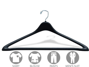 Select nice the great american hanger company heavy duty black plastic suit hanger with fixed bar box of 100 sturdy 1 2 inch thick coat hangers with square topped chrome swivel hook