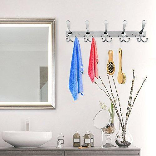 Explore turefans wall mounted coat hooks hook rail coat rack 2 packs with 15 hooks chrome plated steel coat robe hat hooks