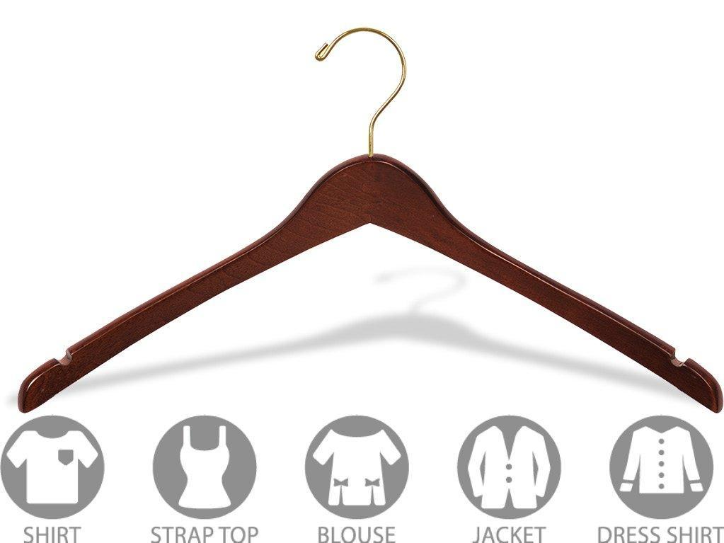 Top the great american hanger company curved wood top hanger box of 100 17 inch wooden hangers w walnut finish brass swivel hook notches for shirt jacket or coat