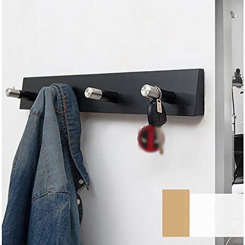 LXLA- Shelf Hangers Coat Rack Hook Up Wood Bamboo Wall-mounted Brown Black (Available 4 Hooks, 48.2 7.4 2.2 cm) (Color : Black)